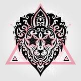 Lions head. Tribal pattern Stock Image