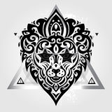 Lions head. Tribal pattern Stock Photography