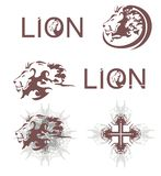 Lions heads, lions cross, lions text Royalty Free Stock Photo
