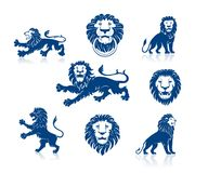 Lions Heads and Silhouettes Set Royalty Free Stock Photos