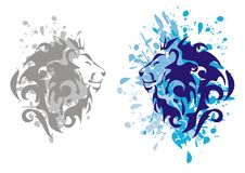 Lions heads with splashes. Gray and blue options of the lions heads with splashes on a white background royalty free illustration