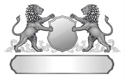 Lions Holding Shield Crest Royalty Free Stock Photography