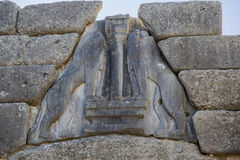 Lions on Lion Gate at ancient Mycenae Stock Photo