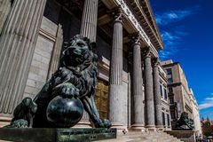 Lions. Madrid`s Congress of Deputies entrance guarded by the lions Stock Photo