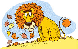 Lions mane. The illustration shows a cartoon lion with a mane of autumn leaves Royalty Free Stock Photography