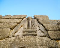 Lions in Mycenae. stock photography