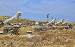 Lions Of Naxians Delos Stock Photography