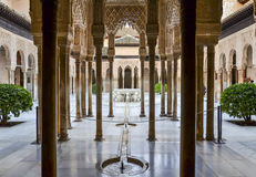 Lions Patio in Alhambra, Granada, Spain. Patio de los Leones (Court of the Lions) in   Alhambra, Granada, Spain Royalty Free Stock Photos