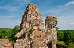 The Lions of Pre Rup Temple, Cambodia. The Lions stand guard at the top of Pre Rup Temple, Cambodia Stock Photos