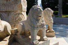 Lions Sculptures in the garden - Africa. Sculptures in the garden - Egypt - Africa royalty free stock image
