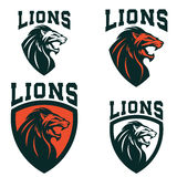Lions. Set of the emblems templates with angry lion head. Sport. Team mascot. Design element for logo, label, sign, brand mark. Vector illustration Royalty Free Stock Photo