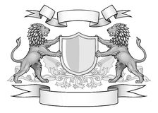 Lions With Shield and Banners Emblem Stock Photo