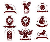 Lions Simple Emblems Set Royalty Free Stock Images