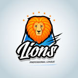`Lions` sport team logo template. Lion head mascot. Sports athletic league event badge graphic, logotype, t-shirt graphic. Royalty Free Stock Image