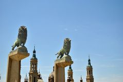 Lions Stone Bridge Saragossa Stock Image