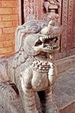 Lions in Swayambhunath Temple, Kathmandu, Nepal Royalty Free Stock Photos