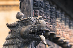 Lions, symbols of power and protection, in Bhaktapur Temple ,the Stock Images