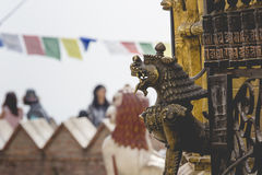 Lions, symbols of power and protection, in Bhaktapur Temple ,the Royalty Free Stock Photo