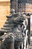 Lions, symbols of power and protection, in Bhaktapur Temple ,the Royalty Free Stock Image