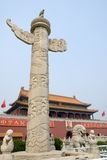 Lions at Tiananmen Gate. (Gate of Heavenly Peace), Forbidden City, Beijing, China Royalty Free Stock Photo