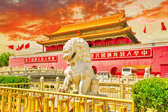 Lions on Tiananmen Square near Gate of Heavenly Peace- the entra Stock Photo