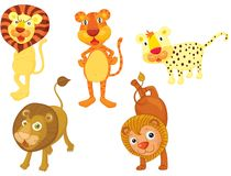 Lions and tigers. An illustration of differnt lions and tigers royalty free illustration