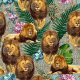 The lions and tropical flowers. A couple of lions. Vector seamless pattern stock illustration