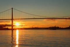 Lions utfärda utegångsförbud för soluppgångfraktbåten, Vancouver Royaltyfri Fotografi
