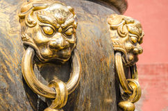 Lions on Vats in Forbidden City Stock Image