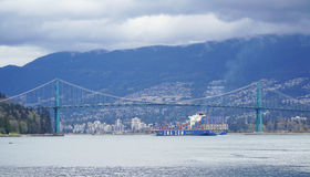 Lionsgate Bridge in Vancouver - VANCOUVER - CANADA - APRIL 12, 2017 Royalty Free Stock Photography