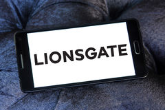 Lionsgate logo. Logo of the american lionsgate studios on samsung mobile phone Stock Images