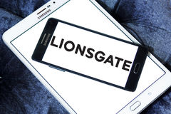 Lionsgate logo. Logo of the american lionsgate studios on samsung mobile phone on samsung tablet Stock Image
