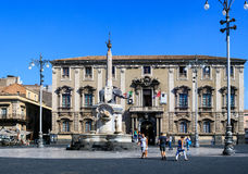 Liotro, obelisk monument, Catania. CATANIA, ITALY - AUGUST, 26: Liotro, the obelisk monument symbol of Catania on August 26, 2015 royalty free stock photos