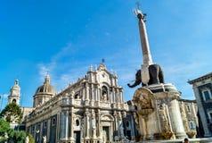 Liotru i katedra w Catania, Sicily Zdjęcie Royalty Free