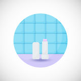 Lip balm  flat icon. Flat design of lip care, hygiene or beauty object  in the bathroom interior,  illustration with shadows Royalty Free Stock Photos