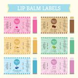 Lip Balm Labels. In Cherry, Chocolate, Vanilla, Mint, Blueberry and Floral/Lavender stock illustration