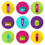 Lip balm tubes and jars vector flat icon set. Bright colors: violet, green, rose, yellow, cyan Royalty Free Stock Photo