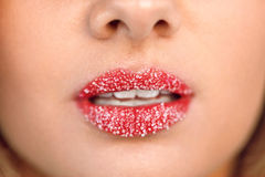 Lip Care. Closeup Of Beautiful Woman Lips With Sugar Lip Scrub. Lip Care. Closeup Of Beautiful Woman's Lips With Cosmetic Sugar Lip Scrub On. Girl's Mouth With stock photos