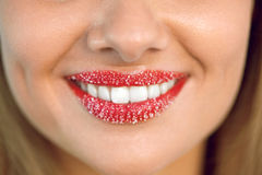 Lip Care. Woman Smile With White Teeth, Sugar Scrub On Lips Stock Photo