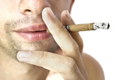 Lip and cigarette Royalty Free Stock Photos