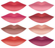 Lip colors. Lips in a variety of lipstick colors Royalty Free Stock Image