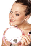 Lip gloss apply Royalty Free Stock Images