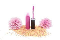 Lip gloss with brush isolated on white background Royalty Free Stock Photos