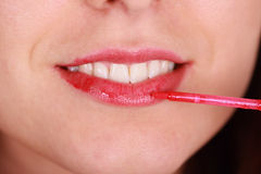 Lip gloss and smile royalty free stock photo