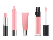 Lip gloss. Vector. Light pink lip gloss and lip stick isolated on white. Make-up set for lips. Vector illustration royalty free illustration
