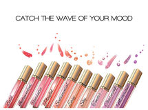 Lip gloss wave banner. Colored emotions lip gloss set on white background. Vector illustration stock illustration