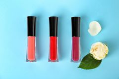Lip Glosses And Flowers Royalty Free Stock Photography
