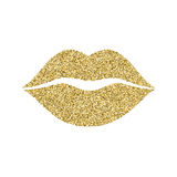 Lip icon with glitter effect,  on white background. Outline icon of mouth, vector pictogram. Symbol of kiss from Stock Photography