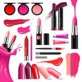 Lip Makeup Color Realistic  Collection. Lip makeup beauty accessoires realistic collection with lipstick gloss balm liner high-shine intense colors vector Stock Photography