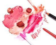 Lip makeup cosmetics Royalty Free Stock Images